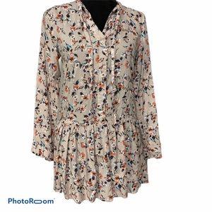 Freebird pale pink floral tunic dress small